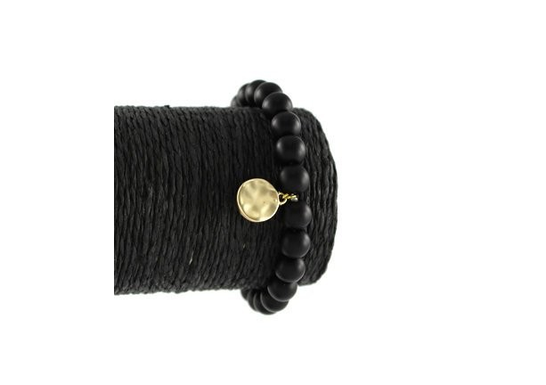 Black Burnished Gold Charm Matted Semi Precious Stone Stretch Bracelet