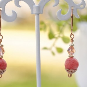 Pink Quartz Earrings, Gemstone, Frosted Coral, Vintage Peach Crystal Bicone