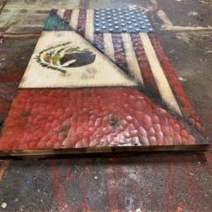 Wood Split US Flag and Mexico Flag