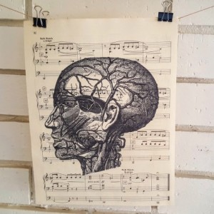 Upcycled Sheet Music Print – Vintage Female Anatomy Head Print