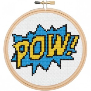 POW Comic Book Sound Effect Retro Cross Stitch DIY Kit Needlework Embroidery Beginner