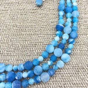 Chunky Blue Agate Statement Necklace, Chunky Necklace, Weathered Agate Necklace, Blue Beaded Necklace, Multi Strand Blue Statement Necklace