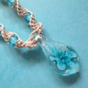 Handmade Natural Hemp Necklace with Awesome Blue Glass Flower Pendant and Matching Blue Glass Beads- Hemp Flower Necklace