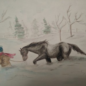Horse and Man in Blizzard