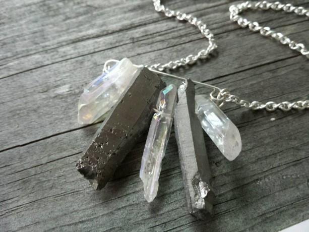 Quartz Crystal Necklace, Silver Quartz, Raw Crystal Jewelry, Raw Crystal Pendant, Gypsy Jewelry, Boho Chic Necklace,  Minimalist Necklace