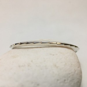 Silver Filed Ridge Bracelet—Size 6.75 to 7