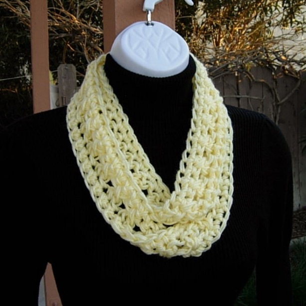 Light Yellow Crochet Summer Infinity Scarf Aftcra