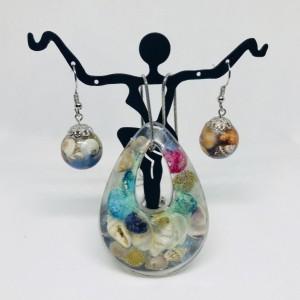 Beach ocean jewelry set, seashell jewery set