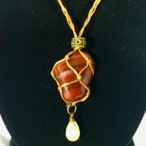 RED TIGER'S EYE Healing Necklace with a Citrine Faceted Charm