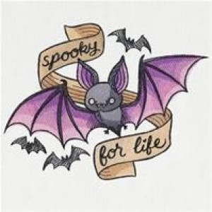 Embroidered Patch / applique - spooky for life bats - sew , glue , or iron on 3 x 4 inch ANY COLORS