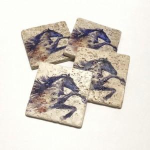 Purple Watercolor Horse, Natural Stone Coasters, Set of 4, Full Cork Bottom, Horse Coasters, Watercolor Coasters, Rustic Decor, Gift
