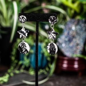 Black & white lace polymer dangle earrings