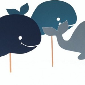 Blue Whale Cupcake Toppers - Set of 12, 1-Sided or 2-Sided
