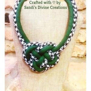 Houndstooth Necklace, Evergreen Houndstooth Necklace, Statement Necklace, Fabric Necklace, Knot Necklace, Rope Necklace, Ankara Necklace