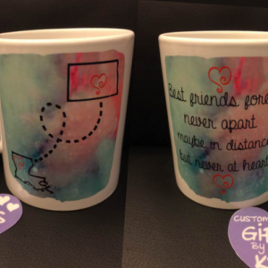 Best Friends forever mug with Water color, Miss you mug