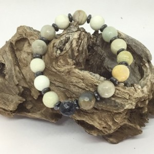 Natural stone jewlery, Umbre color, hematite beads, hematite bracelet, hematite jewlery, gift for him, Father's Day, Must have for Dad