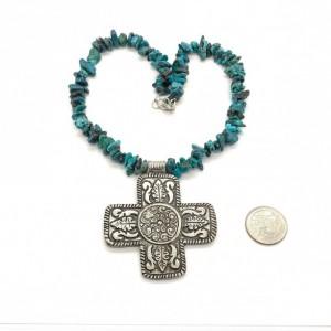 Boho Cross with Genuine Blue/Green Medium Chip Turquoise