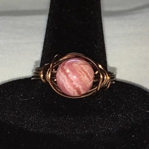 Rhodocrosite Bead & Bronze Wire Ring Size 9