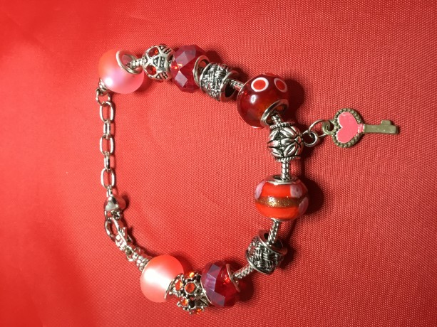 Red European Charm Bracelet with Red Heart Key Charm