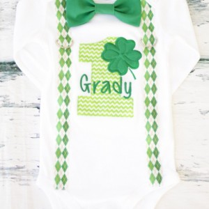 Boy first birthday Outfit St Patrick birthday baby boy cake smash Clover shamrock one year outfit birthday outfit birthday family shirts
