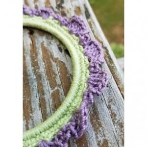 Purple and Green Ruffle Crochet Bangle Bracelet