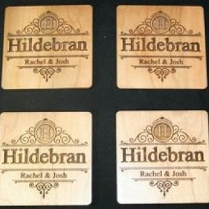 Custom Engraved Coasters Wood Set of (6) Personalized