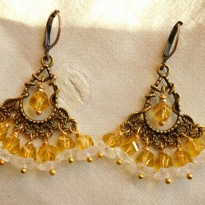 Bohemian Chandelier bronze tone earrings with amber crystal glass beads and flower crystal beads. E00288