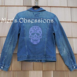 Women's Denim Jacket with Embroidered Lacy Skull