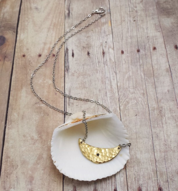 Hammered Brass Crescent Moon Star Necklace