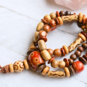 Wood Beaded Necklace, Earthy Necklace, Bohemian Colorful Necklace