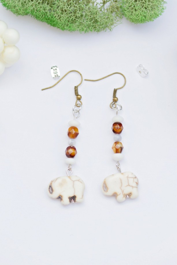 Boho bohemian earrings/White reconstituted stone elephant/Amber swirl glass/Mother of pearl light gray shell/Under 20 dollars/Nickel free