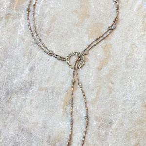 Bronze beaded lariat necklace