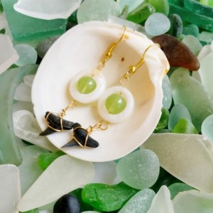 Shark tooth earrings with polished oyster shells, shark teeth, shark tooth jewelry, seashell earrings, green bead earrings, fossil jewelry