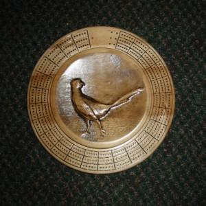 Pheasant 3 track round cribbage board with storage