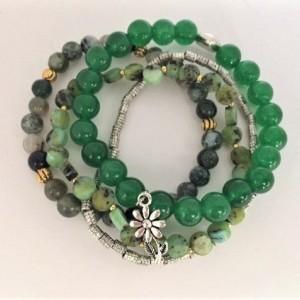 Multi Greens Beaded Bracelet, Shades of Green Strands