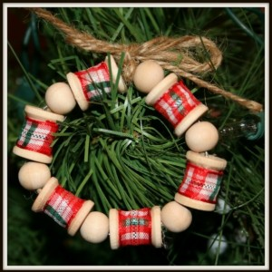 HOT GIFT SALE! (Set of 3) Wooden Mini Wreath Spool Ornaments For Holidays.Home Decor.Great Gift for Christmas Tree,Wreath, Gift Exchange