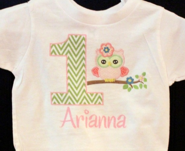 Personalized Owl Birthday baby bodysuit or toddler shirt