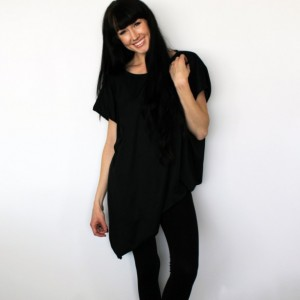 Short Sleeve Loose Fit Asymmetrical Black Tunic