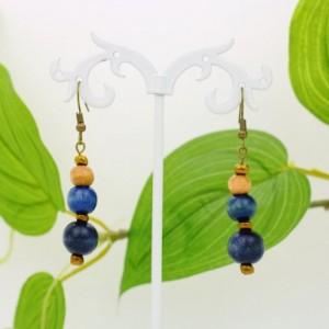 Painted Wood Earrings, Dark Blue, Beige Beads, Antique Brass