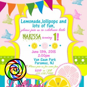 Lemonade birthday invitation, banners, printable invitation