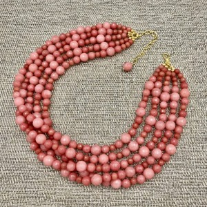 Chunky Camellia Jade Statement Necklace, Chunky Necklace, Jade Necklace, Multi Strand Necklace, Statement Necklace, Jade Beaded Necklace