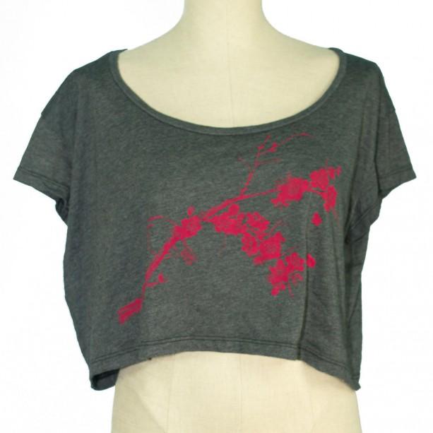 Heather Black Bird, Plum Blossoms Loose Crop Tee, Screen Printed, Japanese Ume, Eco-Friendly, Dancewear, Activewear, Made in USA