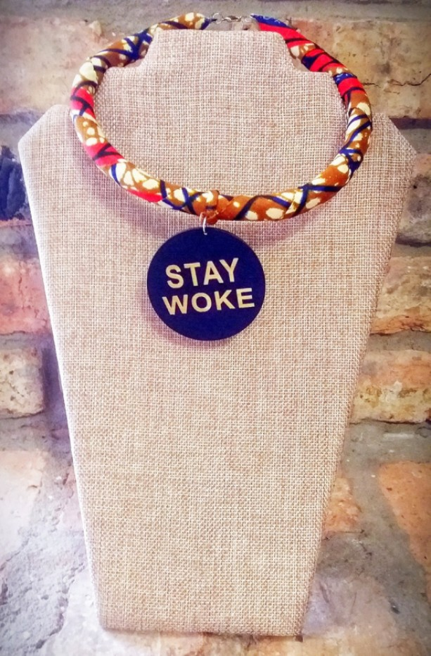 Stay Woke Afrocentric Ankara African Necklace, Afrocentric African Fabric Necklace, Ankara Necklace, Tribal Rope Necklace, Ankara