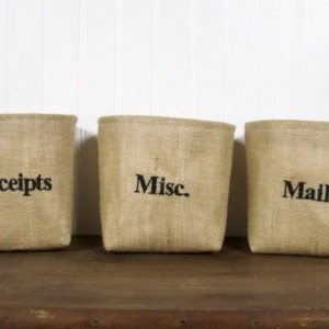 Personalized Burlap Baskets - Set of 3