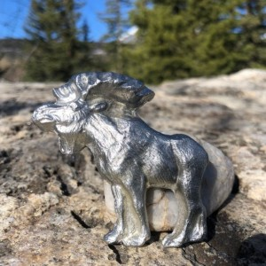 Moose magnet pewter figurine, hand cast