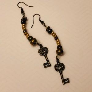 Half Moon Beaded Key Earrings