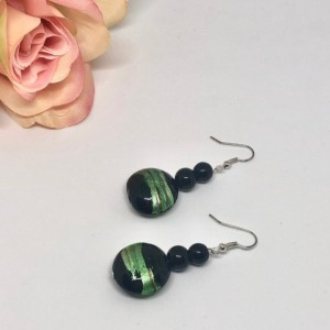 Green/Black Circle Drop Earrings