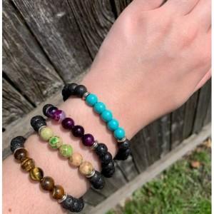 Emperor Turquoise Lava Stone Grounding Bracelet, Meditation Anxiety Stress Relief Bracelet, Fashion Buddha Jewelry
