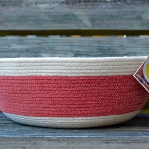 large red & white rope basket