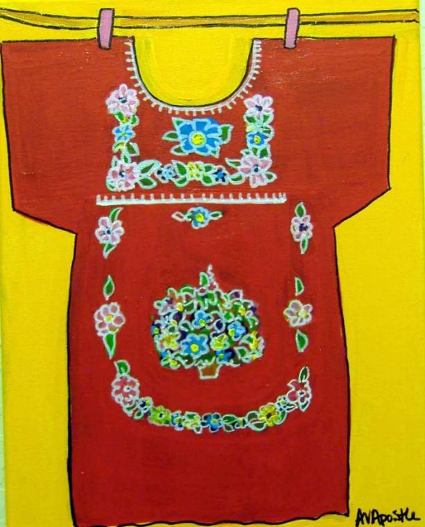 Mexican Folk Art-Girls Dress #1- PRINT Signed By Artist A.V.Apostle